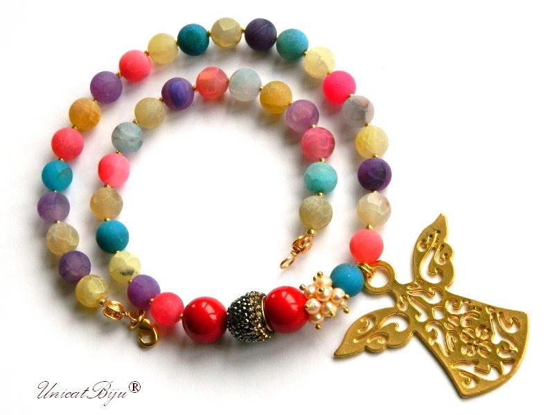 colier agat frosted, bijuterii semipretioase unicat, inger aurit, perle mallorca masive, cristale rhinestone, agat multicolor, unicatbiju