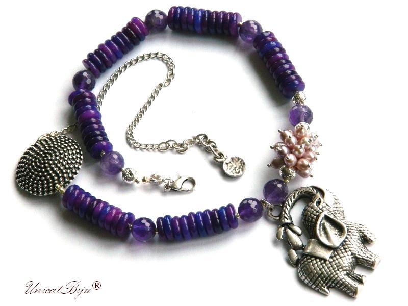 colier ametist, bijuterii semipretioase unicat, elefantel feng shui argintat, jad mov, perle mov, perle keshi, unicatbiju, salba argintata