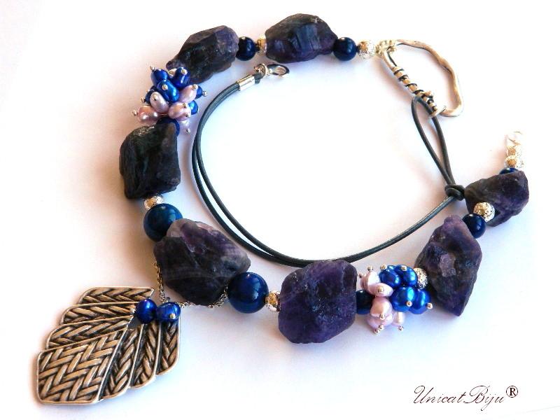 colier ametist brut, bijuterii semipretioase unicat, perle albastre, sidef natural, perle keshi, salba argintata, unicatbiju