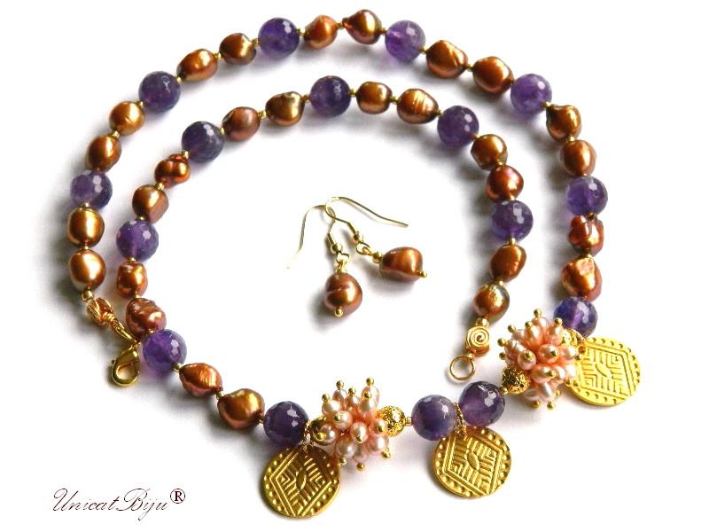 colier ametist, perle keshi, bijuterii semipretioase unicat, perle roz, sidef natural, salba aurita, unicatbiju