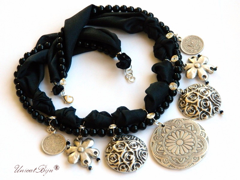 colier onix negru, bijuterii semipretioase unicat, salba argintata traditionala, modern, statement, cristale, unicatbiju