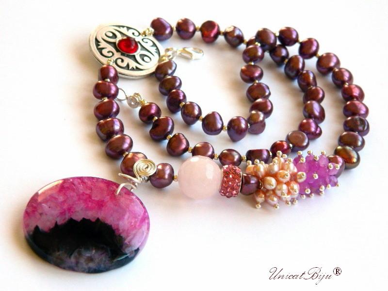 colier perle burgundy, bijuterii semipretioase unicat, pandantiv agat, cuart roz, jad mov, perle sidef natural, salba argintata, unicatbiju