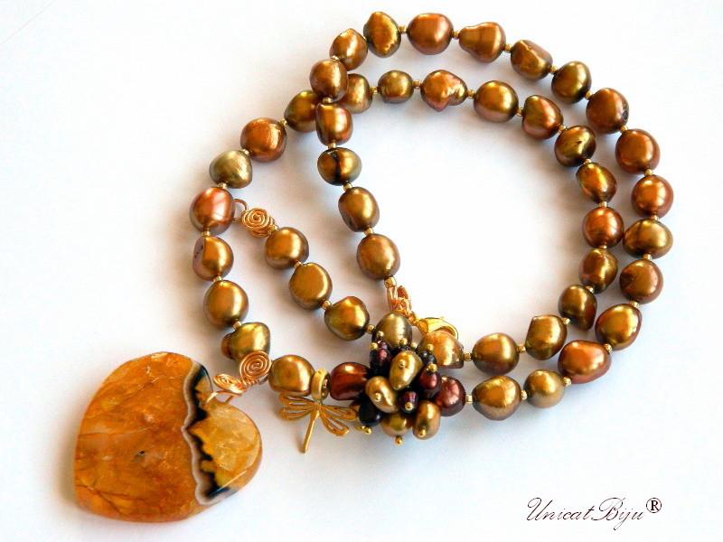 colier perle keshi, bijuterii semipretioase unicat, statement, inima agat chihlimbar, libelula aurita, perle olive, sidef natural, unicatbiju