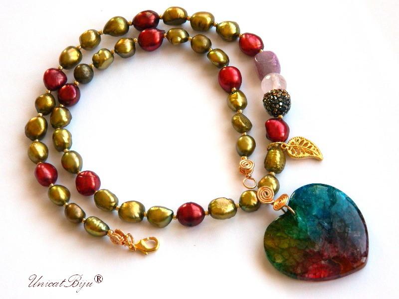 colier perle keshi mari, bijuterii semipretioase unicat, statement, inima agat multicolor, frunza aurita, ametist, cuart roz, sidef natural, unicatbiju