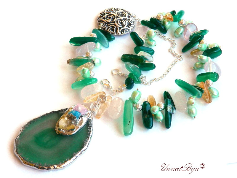 colier statement, agat moss, cuart roz, perle verzi, bijuterii semipretioase unicat, citrin, pandantiv agat druzy argintat, unicatbiju