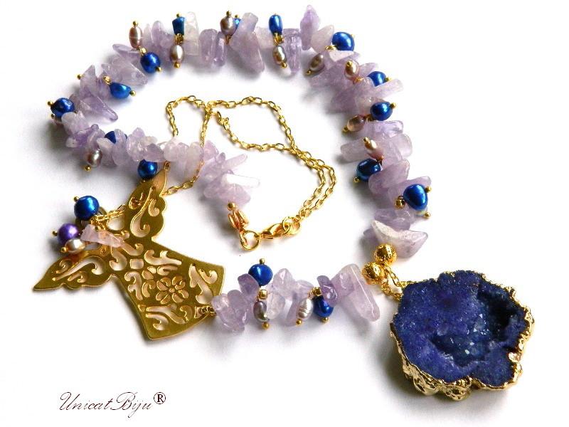 colier statement, ametist bolivia, bijuterii semipretioase unicat, perle keshi albastre, perle mov, agat druzy aurit, unicatbiju, inger aurit