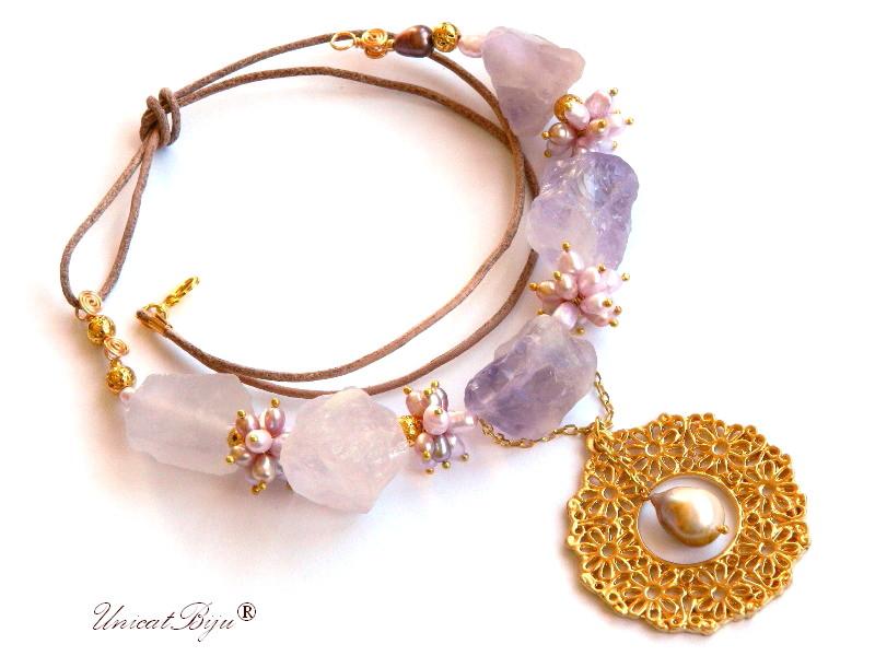 colier statement, ametist brut, bijuterii semipretioase unicat, perle keshi mov, salba aurita, lava aurita, perle lavanda, sidef natural, unicatbiju
