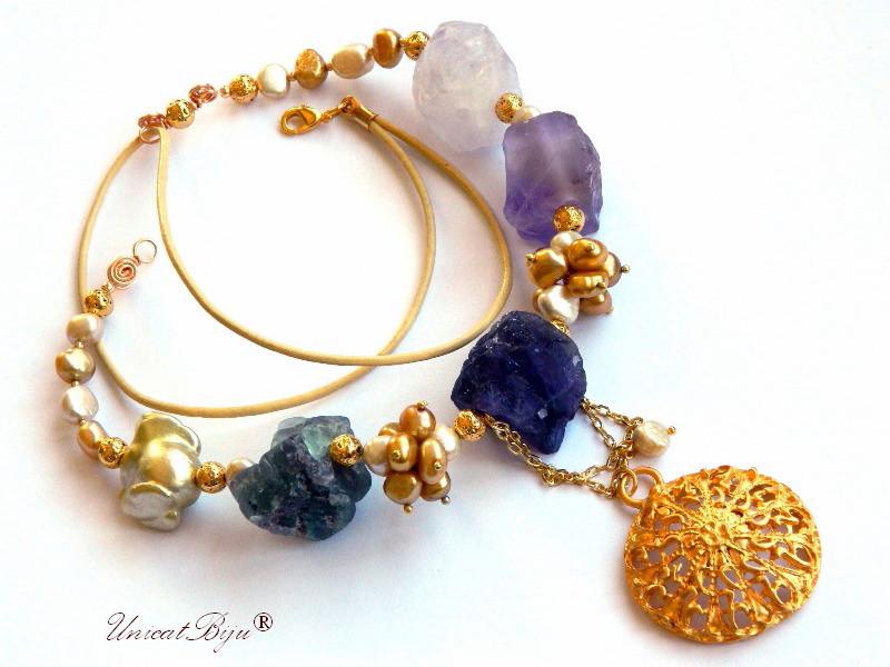 colier statement, ametist brut, flourite brut, cuart roz brut, perle keshi aurii, bijuterii semipretioase unicat, perle sidef natural, lava aurita, unicatbiju