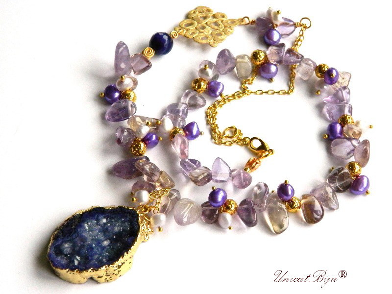 colier statement, ametrin, bijuterii semipretioase unicat, agat druzy aurit, perle keshi mov, sidef natural, unicatbiju, lava aurita