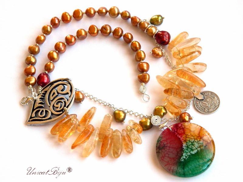 colier statement, bijuterii semipretioase unicat, citrin, agat multicolor, perle keshi, salba argintata, perle visinii, unicatbiju