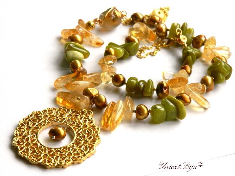 colier statement, bijuterii semipretioase unicat, citrin, perle keshi aurii, agat geoda, jad serpentine, unicatbiju