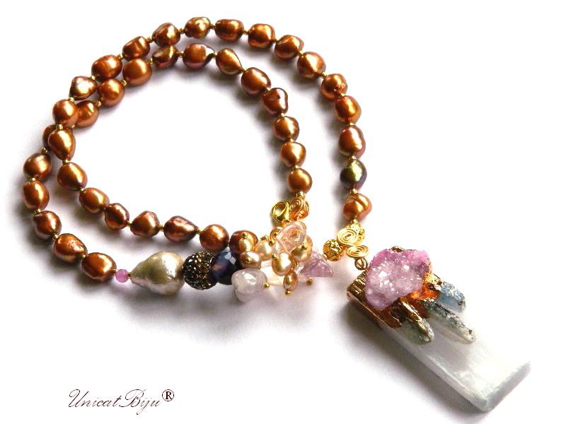 colier statement, perle keshi, bijuterii semipretioase unicat, ametrin, citrin, agat druzy aurit, cuart roz, perle mov, unicatbiju