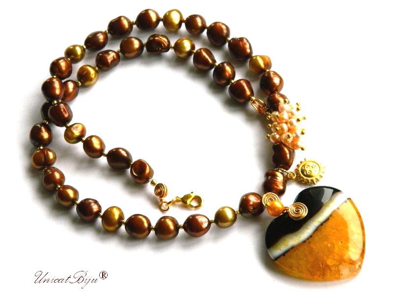 colier statement, perle keshi maro, olive, inima agat, soare aurit, bijuterii semipretioase unicat, perle crem, unicatbiju