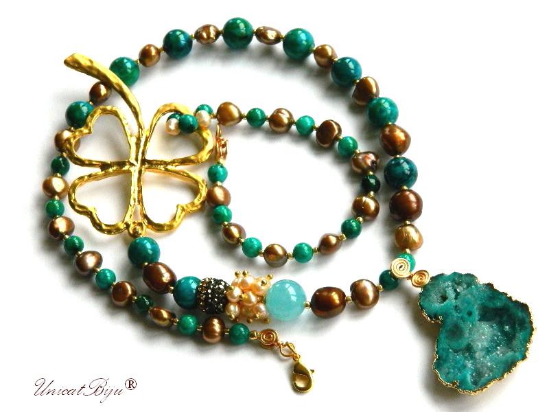 colier statement, trifoi aurit, bijuterii semipretioase, blue casillica, perle keshi, angelit, agat druzy aurit, turcoaz, unicatbiju
