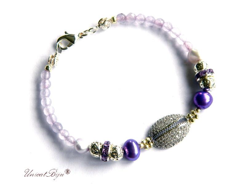 bratara cubic zirconia, ametist, perle mov, keshi, bijuterii semipretioase unicat, argintat, unicatbiju