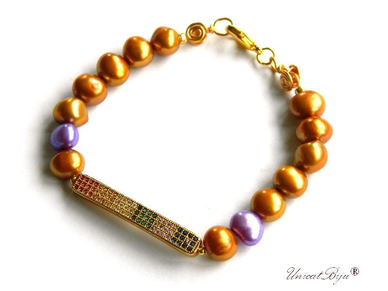 bratara cubic zirconia, perle keshi aurii, bijuterii semipretioase unicat, perle mov, unicatbiju