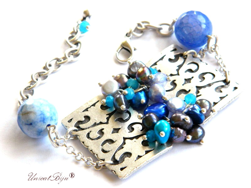 bratara statement, bijuterii semipretioase unicat, agat dantelat. perle sidef natural, keshi albastre, ocean, argintat masiv, unicatbiju