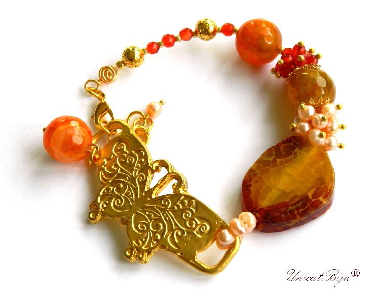 bratara statement, bijuterii semipretioase unicat, agat dantelat. perle sidef natural, keshi, carneol, agat geoda, fluture aurit, unicatbiju