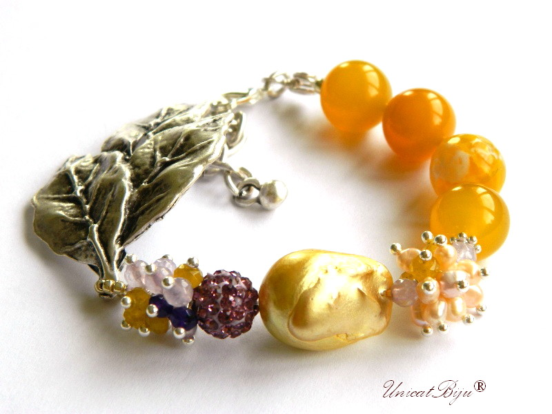bratara statement, bijuterii semipretioase unicat, agat dantelat. perle sidef natural, keshi, jad galben, calcit, frunza argintata, unicatbiju