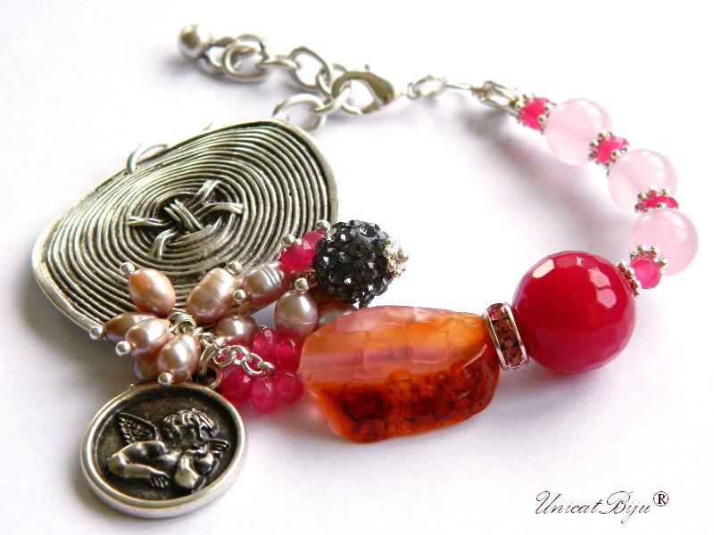 bratara statement, bijuterii semipretioase unicat, agat dantelat. perle sidef natural, keshi, jad roz, agat geoda, talisman inger, argintat masiv, unicatbiju
