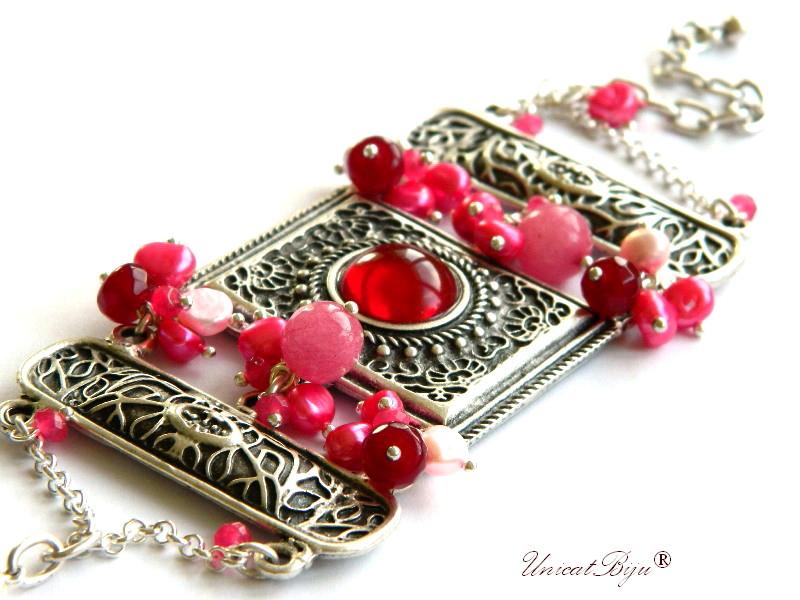 bratara statement, bijuterii semipretioase unicat, agat dantelat. perle sidef natural, keshi, jad roz, fuchisa, argintat masiv, unicatbiju