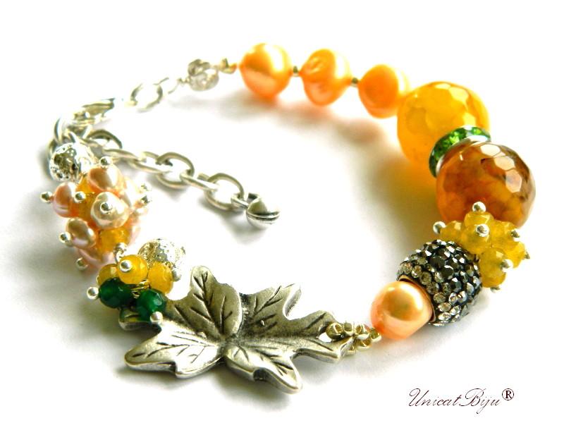 bratara statement, bijuterii semipretioase unicat, agat dantelat. perle sidef natural, smarald radacina, keshi, jad galben, frunza argintata, unicatbiju