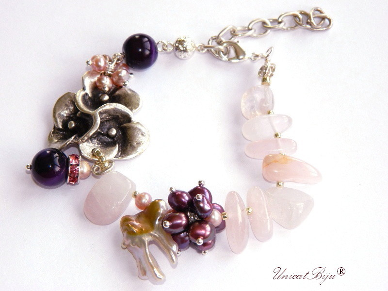 bratara statement, bijuterii semipretioase unicat, cuart roz, perle sidef natural, keshi, jad roz, floare argintata, unicatbiju