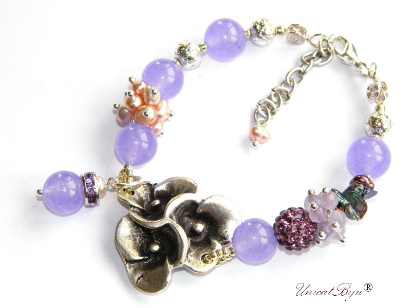 bratara statement, bijuterii semipretioase unicat, perle sidef natural, keshi curcubeu, jad lila, cristale, perle roz, argintat masiv, unicatbiju