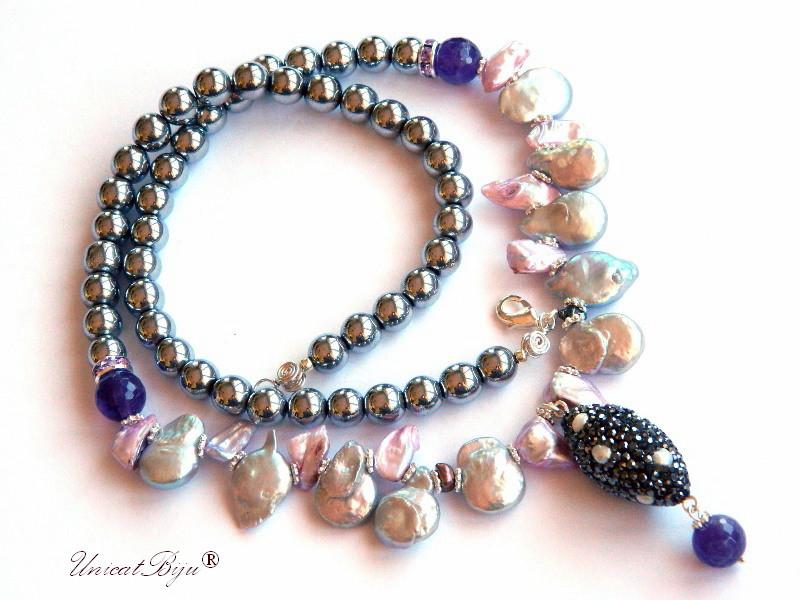 colier statement, hematit placat argint, bijuterii semipretioase unicat, perle keshi argintii, perle roz, ametist, sidef natural, cristale swarovski, unicatbiju