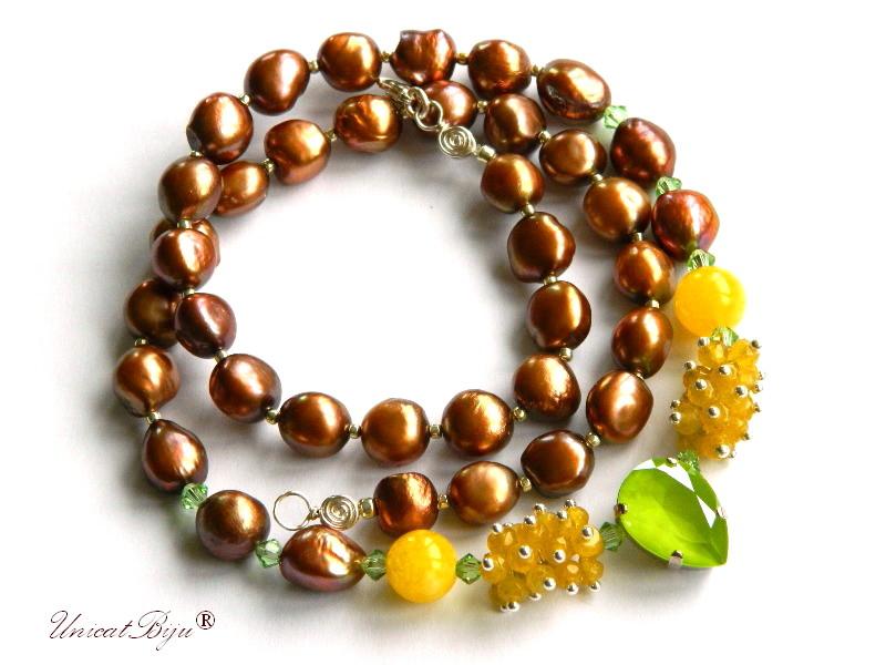 colier statement, perle keshi, bijuterii semipretioase unicat, jad galben, cristale swarovski, lyme, calcit galben, unicatbiju