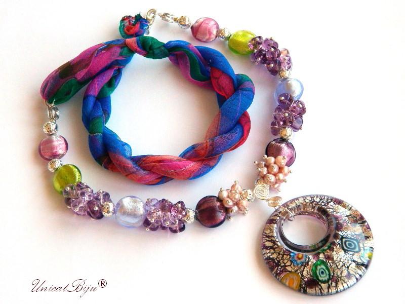 colier statement, perle murano foita argint, bijuterii matase naturala, bijuterii semipretioase unicat, perle sidef natural, pandantiv millefiori, unicatbiju