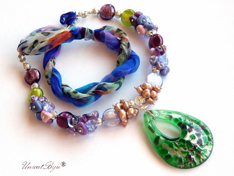 colier statement, perle murano foita argint, bijuterii matase naturala, bijuterii semipretioase unicat, perle sidef natural, verde, animal print, unicatbiju