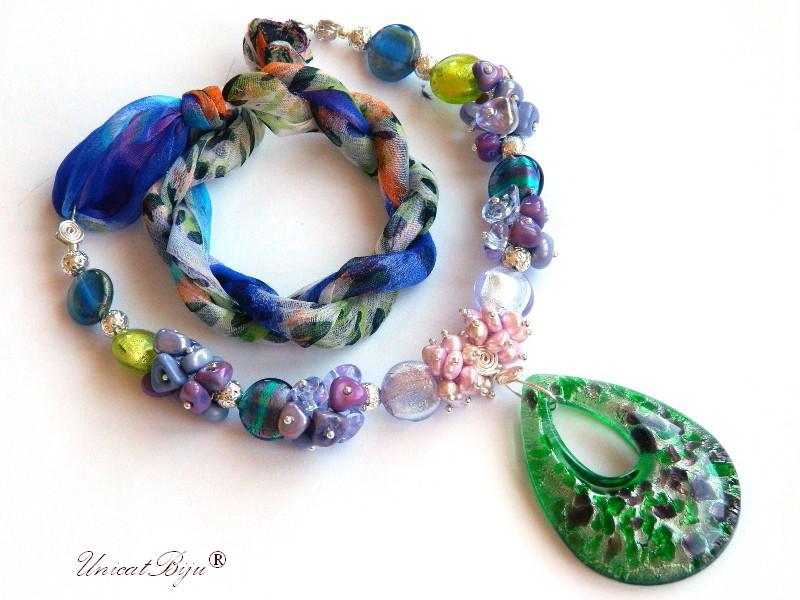 colier statement, perle murano foita argint, bijuterii matase naturala, bijuterii semipretioase unicat, perle sidef natural, verde, mov, unicatbiju
