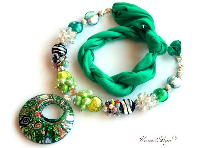 colier statement, perle murano foita argint, bijuterii matase naturala, bijuterii semipretioase unicat, perle sidef natural, verde, perle keshi, pandantiv millefiori, unicatbiju