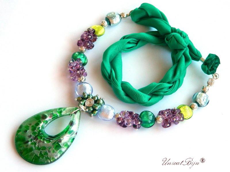 colier statement, perle murano foita argint, bijuterii matase naturala, bijuterii semipretioase unicat, perle sidef natural, verde smarald, unicatbiju