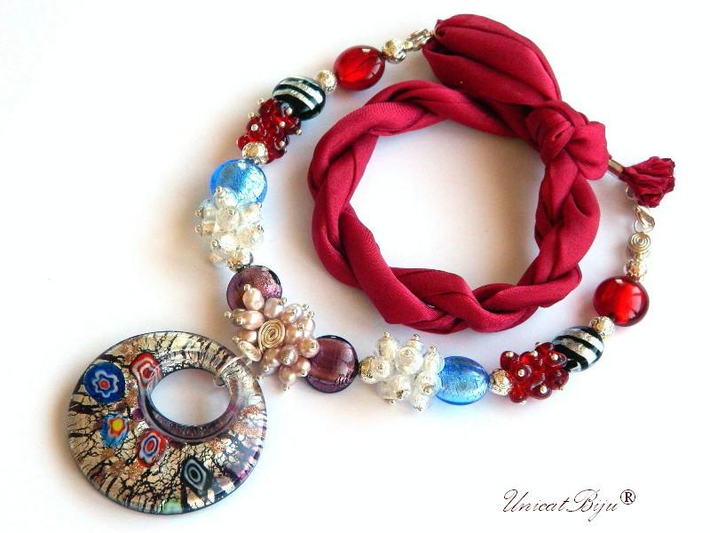 colier statement, perle murano foita argint, bijuterii matase naturala, bijuterii semipretioase unicat, perle sidef natural, visiniu, pandantiv millefiori, unicatbiju