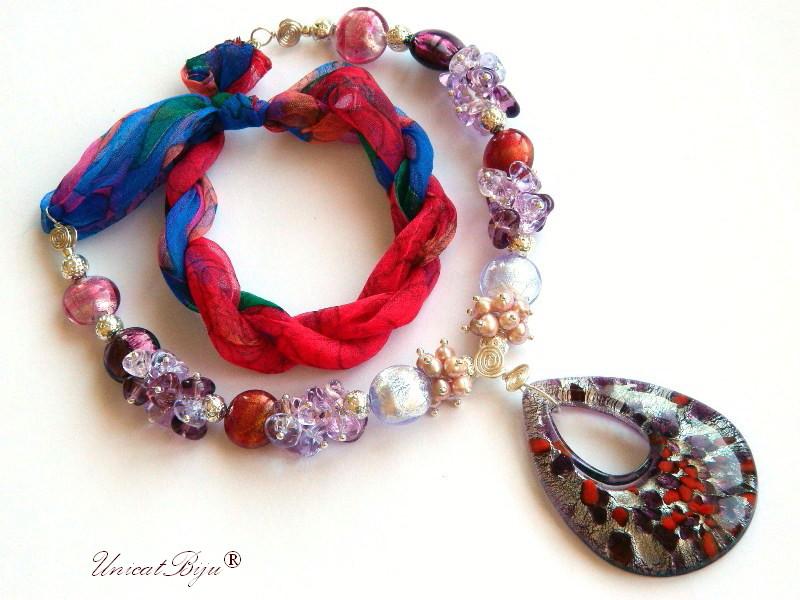 colier statement, perle murano foita argint, bijuterii matase naturala, bijuterii semipretioase unicat, perle sidef natural, visiniu, unicatbiju