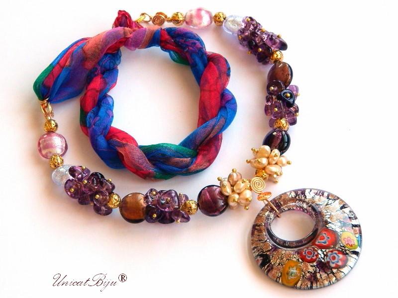 colier statement, perle murano foita aur, bijuterii matase naturala, bijuterii semipretioase unicat, perle sidef natural, coral, mov, pandantiv millefiori, unicatbiju