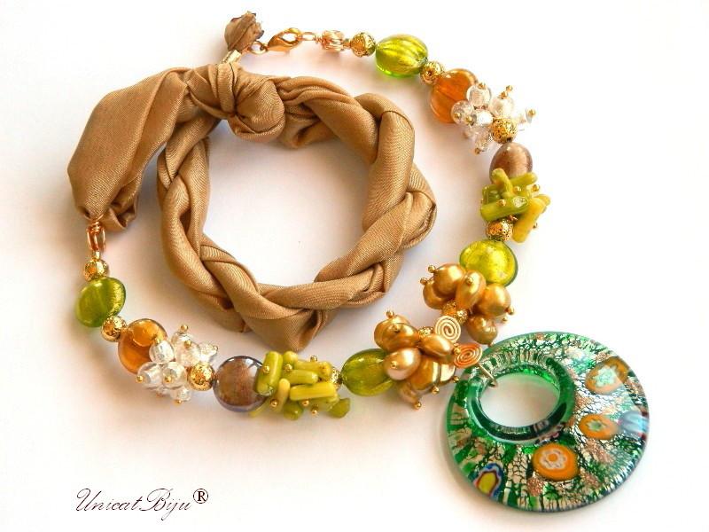 colier statement, perle murano foita aur, bijuterii matase naturala, bijuterii semipretioase unicat, perle sidef natural, perle keshi, coral olive, pandantiv millefiori, unicatbiju