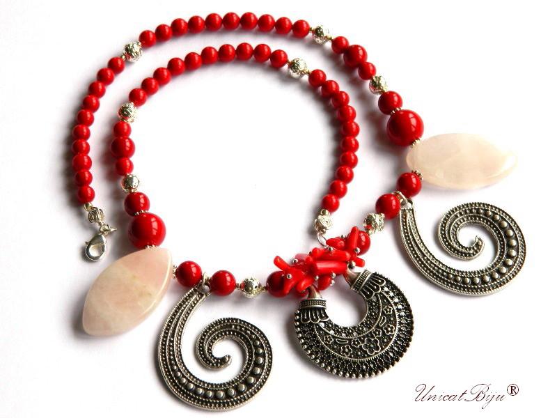 colier statement, salba argintata, bijuterii semipretioase unicat, cuart roz, perle mallorca, coral, unicatbiju