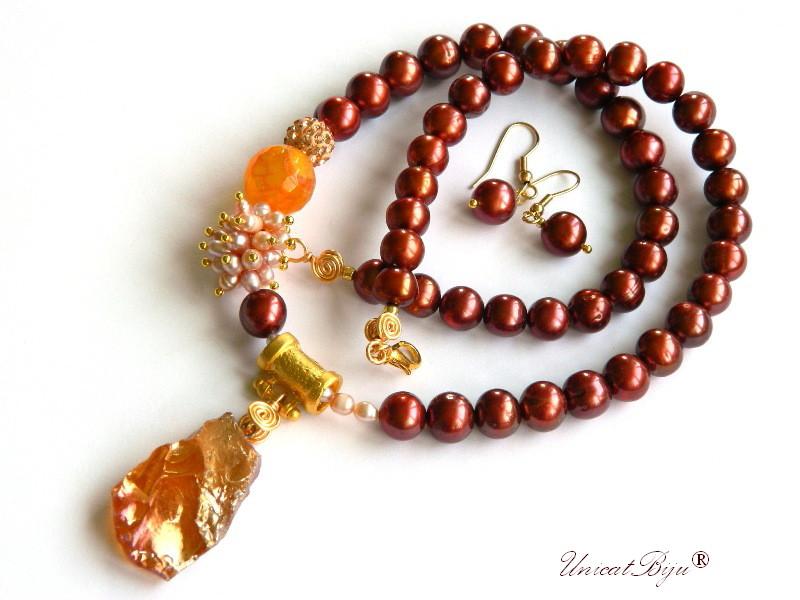 colier perle bordeaux, perle sidef natural, bijuterii semipretioase unicat, pandantiv cuart titanium, carneol, perle keshi, unicatbiju