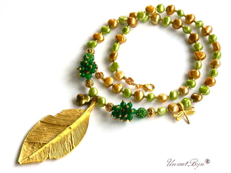 colier perle lung, sidef natural, bijuterii semipretioase unicat, statement, smarald radacina, libelula aurita, perle verzi, perle keshi aurii, unicatbiju