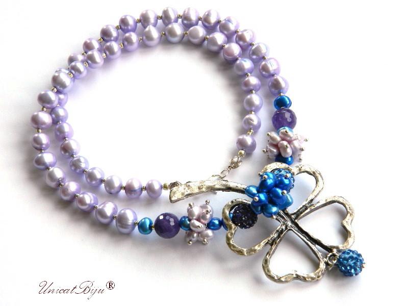 colier perle mari, statement, bijuterii semipretioase unicat, perle keshi, cristale, ametist, perle albastre, unicatbiju, trifoi argintat