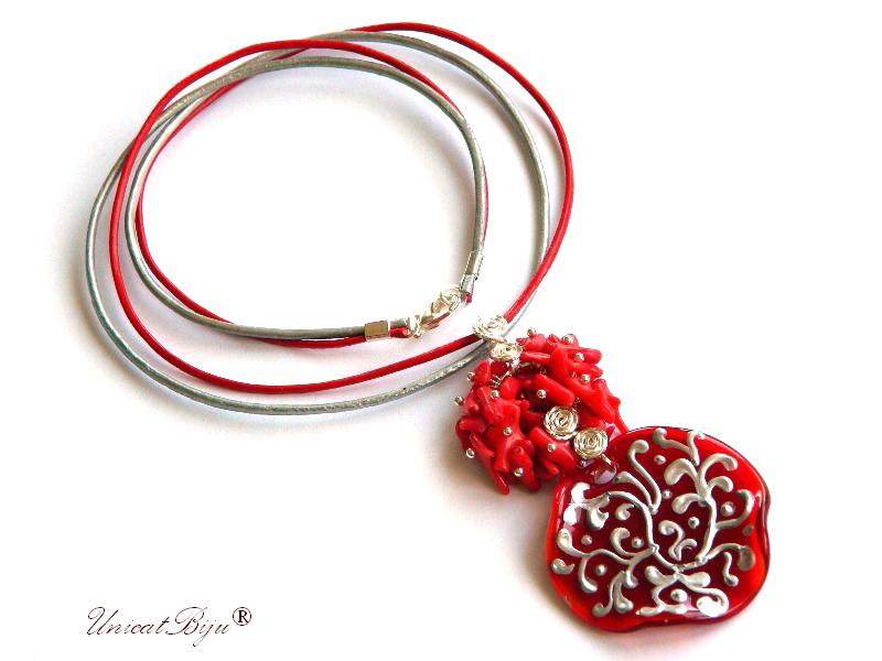 colier piele naturala, pandantiv murano picat manual, bijuterii semipretioase, statement, coral rosu, unicatbiju