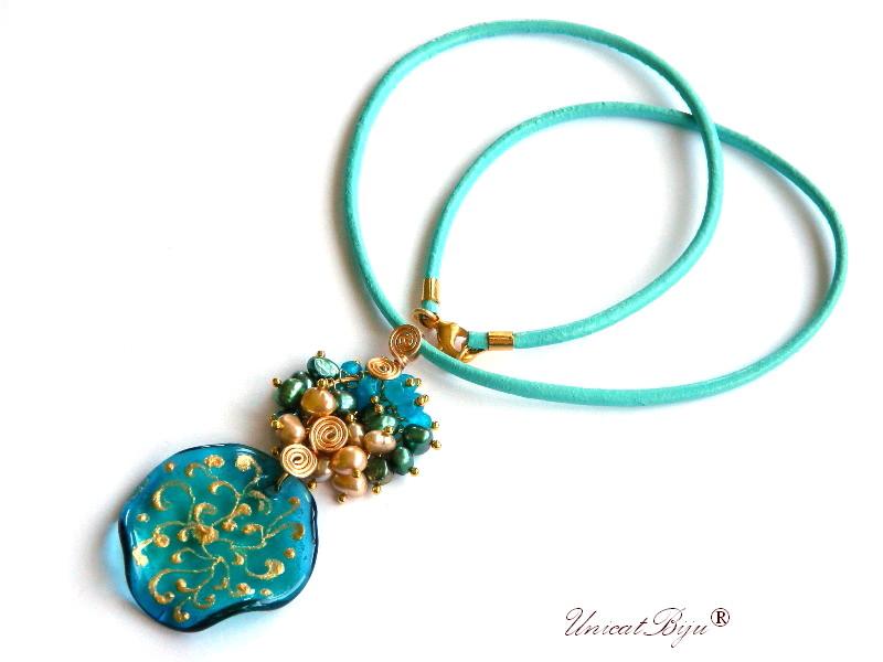 colier piele naturala, pandantiv murano picat manual, bijuterii semipretioase, statement, perle verzi, sidef natural, keshi, agat albastru, unicatbiju