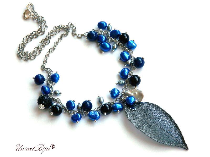 colier semipretioase, frunza filigran, lant argintat, hematit electroplacat, turcoaz, perle, sidef natural, keshi albastre, onix, unicatbiju