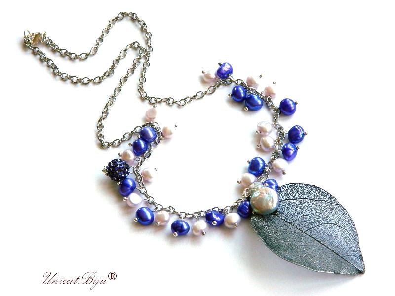 colier semipretioase, frunza filigran, lant argintat, hematit electroplacat, turcoaz, perle, sidef natural mov, keshi, unicatbiju