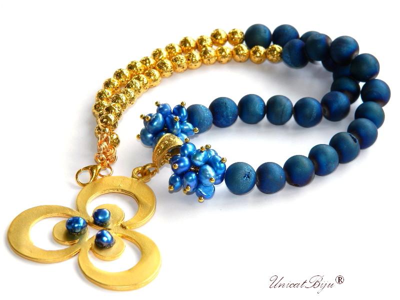 colier statement, agat titanium electroplacat, perle albastre, sidef natural, keshi, bijuterii semipretioase unicat, floare aurita, unicatbiju