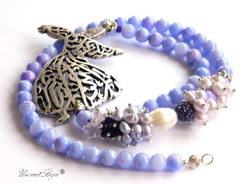 colier statement, bijuterii semipretioase unicat, dervish argintat, jad mov, perle lavanda, perle keshi, ametist, unicatbiju
