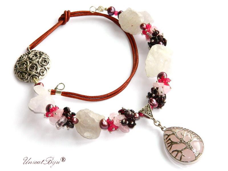colier statement, cuart stanca brut, bijuterii semipretioase unicat, perle burgundy, keshi, granat, cuart roz, copacul vietii argintat, unicatbiju